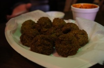 Exotic, spicy falafel with an even spicier chilli dipping sauce